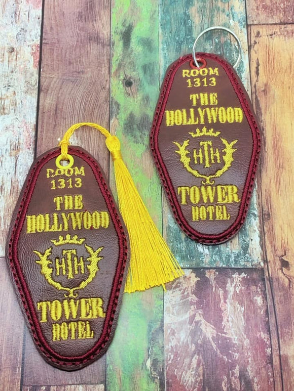 ITH Digital Embroidery Pattern for HTH Hotel Key Fob Key Chain or Bookmark, 4X4 Hoop