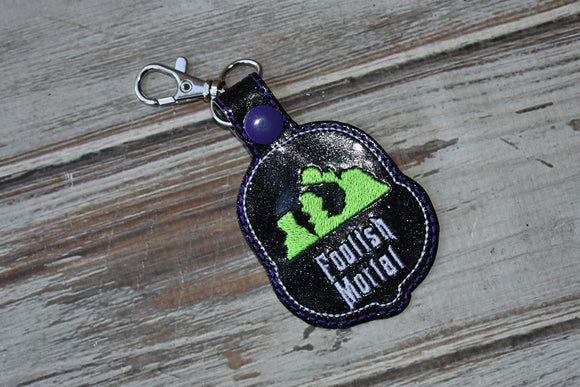 ITH Digital Embroidery Pattern for Foolish Mortals Hitch Hikers Snap Tab / Key Chain, 4X4 Hoop