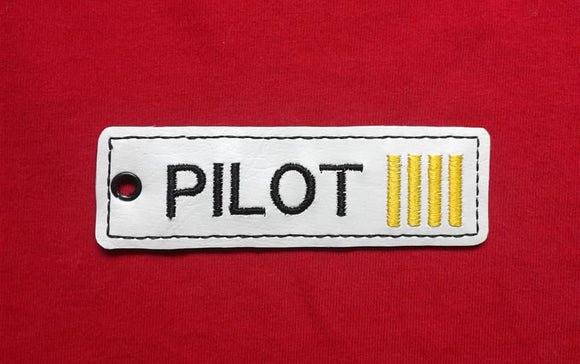 ITH Digital Embroidery Pattern For Pilot Strip Key Chain / Bookmark, 4X4 Hoop