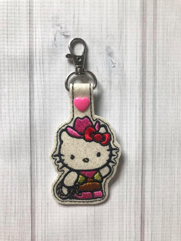 ITH Digital Embroidery Pattern For Cat in Cowgirl Costume Snap Tab / Key Chain, 4X4 Hoop