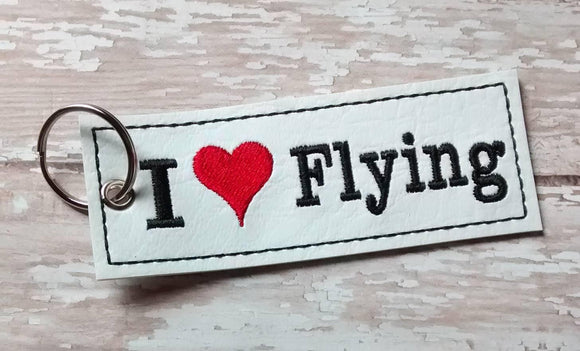 ITH Digital Embroidery Pattern For I Heart Flying Strip Key Chain / Bookmark, 4X4 Hoop