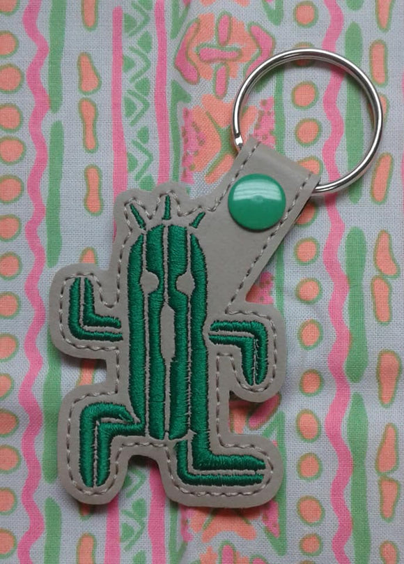 ITH Digital Embroidery Pattern For FIn Fan Cactuer Snpa Tab / Key Chain, 4X4 Hoop