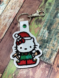 ITH Digital Embroidery Pattern For Cat In Elf Costume Snap Tab / Key Chain, 4X4 Hoop