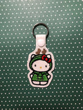 ITH Digital Embroidery Pattern For Cat in Reindeer Costume Snap Tab / Key Chain, 4X4 Hoop