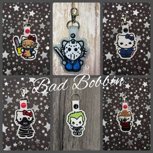 ITH Digital Embroidery Pattern For Bundle pack of 6 Horror Costumes Snap Tabs / Key Chains, 4X4 Hoop