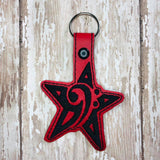 ITH Digital Embroidery Pattern For Star Bass Cleff Snap Tab / Key Chain, 4X4 Hoop