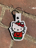 ITH Digital Embroidery Pattern For Cat Pumpkin Snap Tab / Key Chain, 4X4 Hoop
