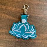 ITH Digital Embroidery Pattern For Lotus Bloom Snap Tab / Key Chain, 4X4 Hoop