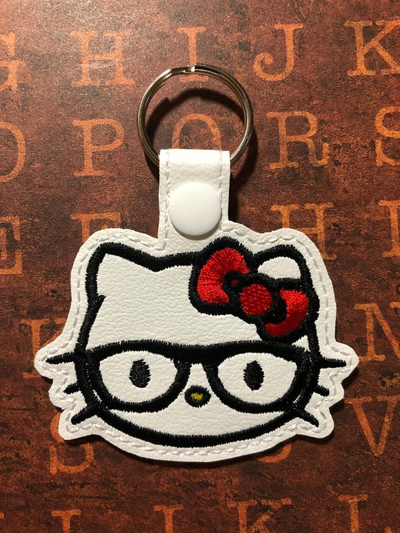 ITH Digital Embroidery Pattern For Nerd Cat Face Snap Tab / Key Chain, 4X4 Hoop