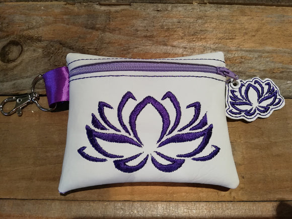 ITH Digital Embroidery Pattern For Lotus Bloom 4.8 X 3.9 Zip Bag with Zipper Pull, 5X7 Hoop