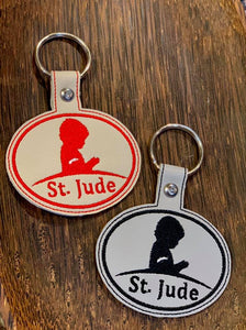 ITH Digital Embroidery Pattern For Free St. Jude Snap Tab / Key Chain, 4X4 Hoop