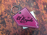 ITH Digital Embroidery Pattern For El Royale Hotel Room Key Chains / Bookmark Cali and Nev, 4X4 Hoop