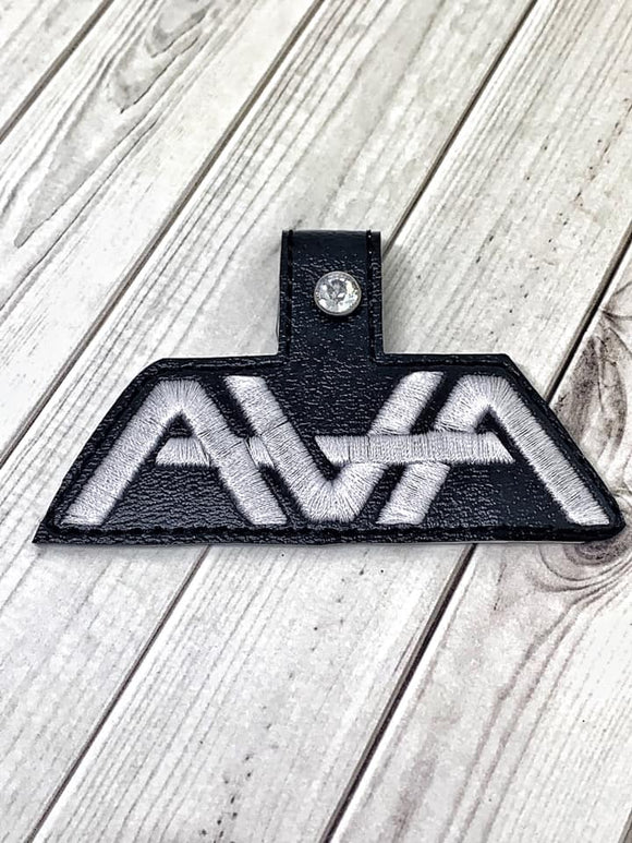 ITH Digital Embroidery Pattern For AVA Band Snap Tab / Key Chain, 4X4 Hoop