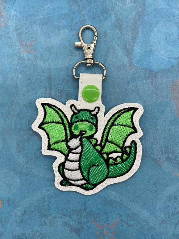 ITH Digital Embroidery Pattern for Cute Dragon Snap Tab / Key Chain, 4X4 Hoop