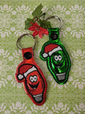 ITH Digital Embroidery Pattern For Christmas Light Dude Snap Tab / Key Chain, 4X4 Hoop