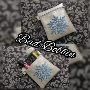 ITH Digital Embroidery Pattern For Snowflake I 4.5X5 Zipper Pouch, 5X7 Hoop