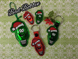 ITH Digital Embroidery Pattern For Christmas Light Dude Zipper Pull, 4X4 Hoop