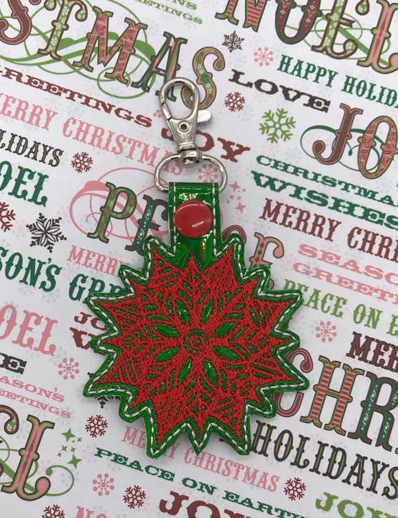 ITH Digital Embroidery Pattern For Poinsettia Snap Tab / Key Chain, 4X4 Hoop