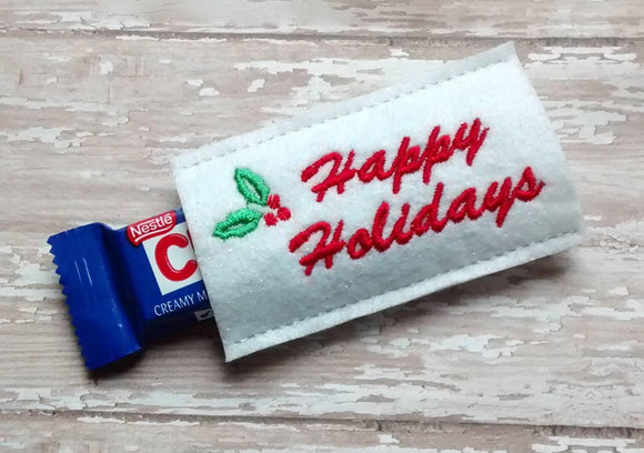 ITH Digital Embroidery Pattern For Happy Holidays Snack Size Candy Bar Cover, 4X4 Hoop