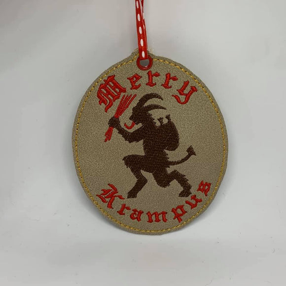 ITH Digital Embroidery Pattern For Merry Krampus Ornament, 4X4 Hoop