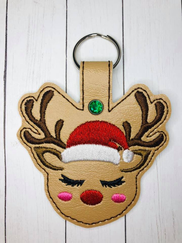 ITH Digital Embroidery Pattern For Sweetface Reindeer Snap Tab / Key Chain, 4X4 Hoop