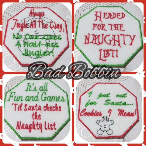 ITH Digital Embroidery Pattern For Set of 4 Snarky Christmas Coasters, 4x4 Hoop