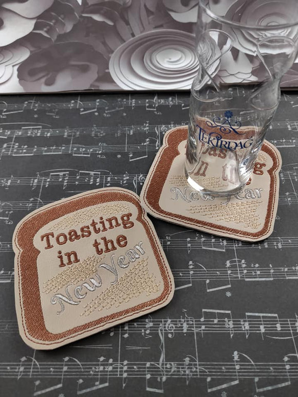 ITH Digital Embroidery Pattern For Toasting in the New Year Coaster, 4X4 Hoop