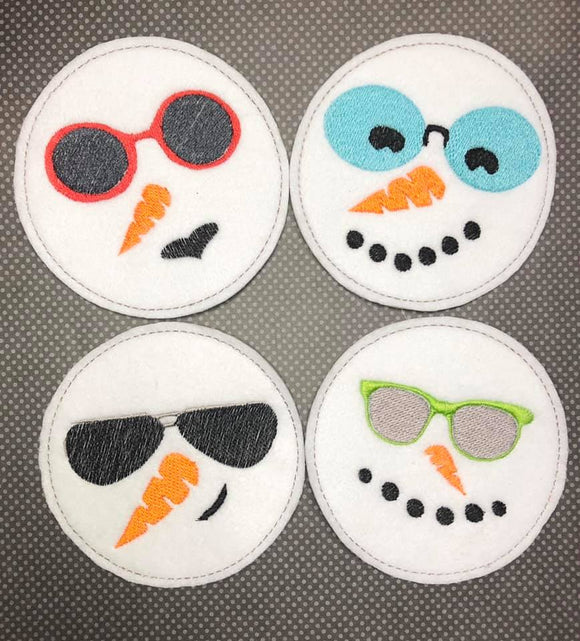 ITH Digital Embroidery Pattern for set of 4 Cool Snowman Coasters, 4X4 Hoop