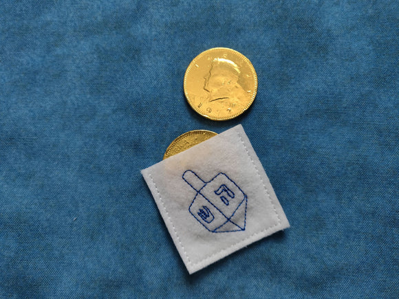 ITH Digital Embroidery Pattern for Gelt Pocket Dreidel Design, 4X4 Hoop