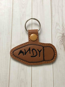 ITH Digital Embroidery Pattern For Woody Boot Snap Tab / Key Chain, 4X4 Hoop