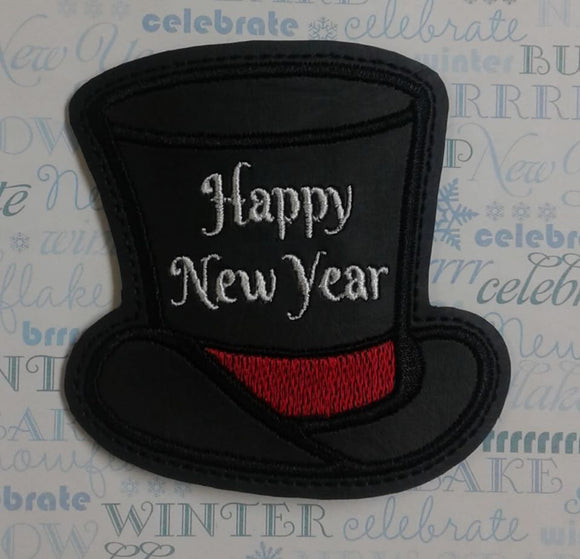 ITH Digital Embroidery Pattern For Top Hat Happy New Year Coaster, 4X4 Hoop