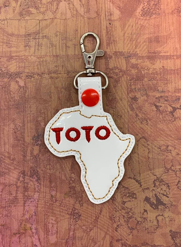 ITH Digital Embroidery Pattern for TOTO Africa Snap Tab / Key Chain, 4X4 Hoop