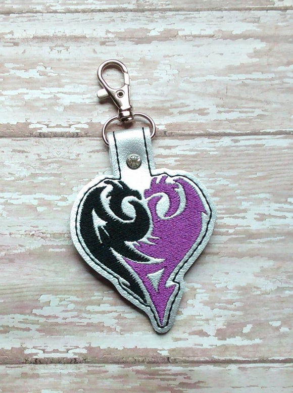 ITH Digital Embroidery Pattern for Des Dragon Heart Snap Tab / Key Chain, 4X4 Hoop