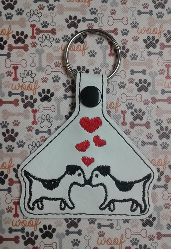 ITH Digital Embroidery Pattern for Love Pup Snap Tab / Key Chain, 4X4 Hoop
