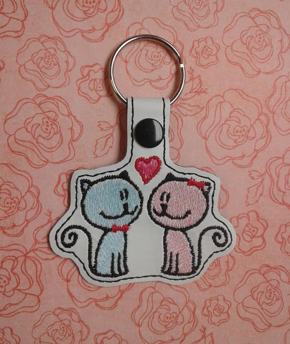 ITH Digital Embroidery Pattern for Love Kitties Snap Tab / Key Chain, 4X4 Hoop
