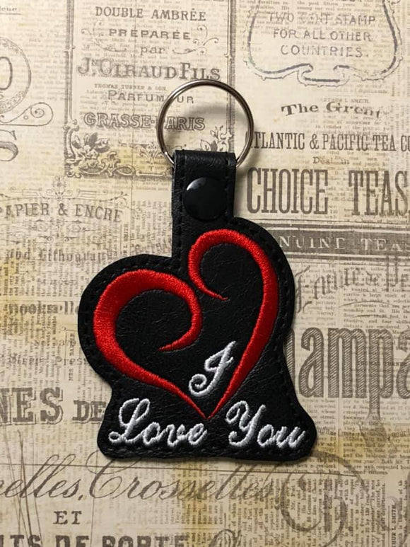 ITH Digital EMbroidery Pattern for I Love You Heart Snap Tab / Key Chain, 4X4 Hoop