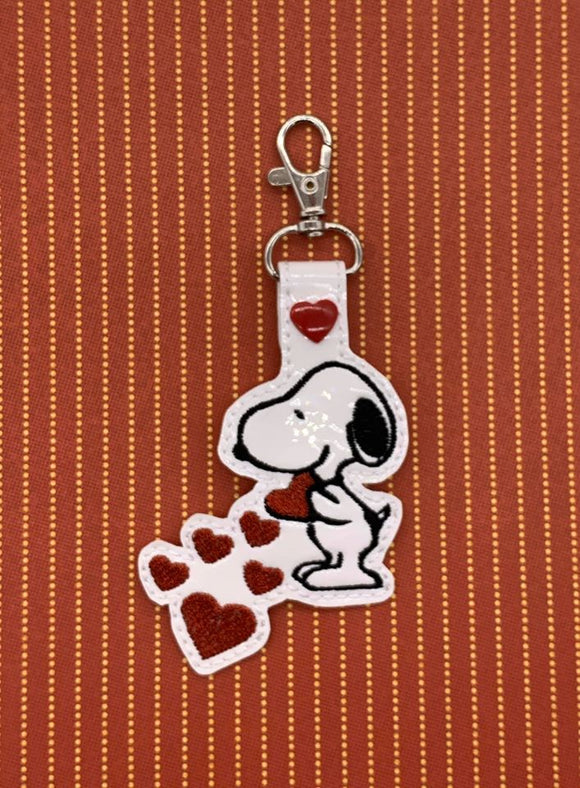 ITH Digital Embroidery Pattern For Snoop Love Snap Tab / Key Chain, 4X4 Hoop