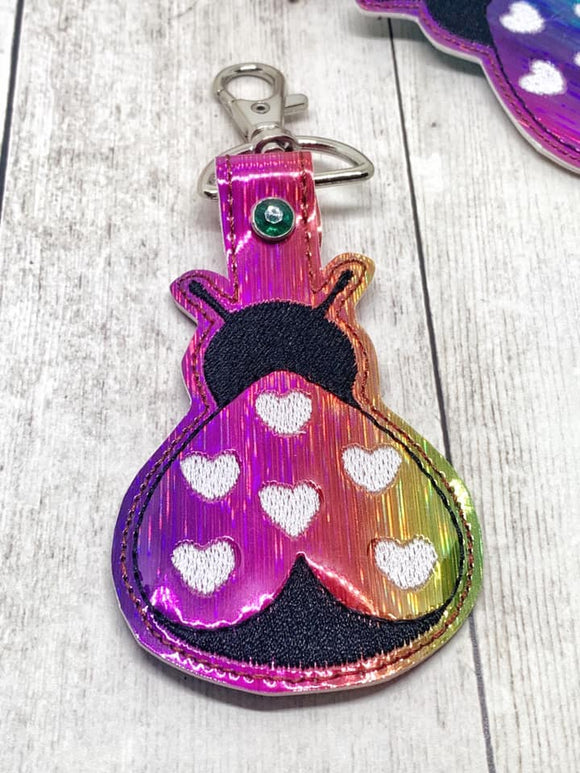 ITH Digital Embroidery Pattern for Lady Bug Heart Snap Tab / Key Chain, 4X4 Hoop