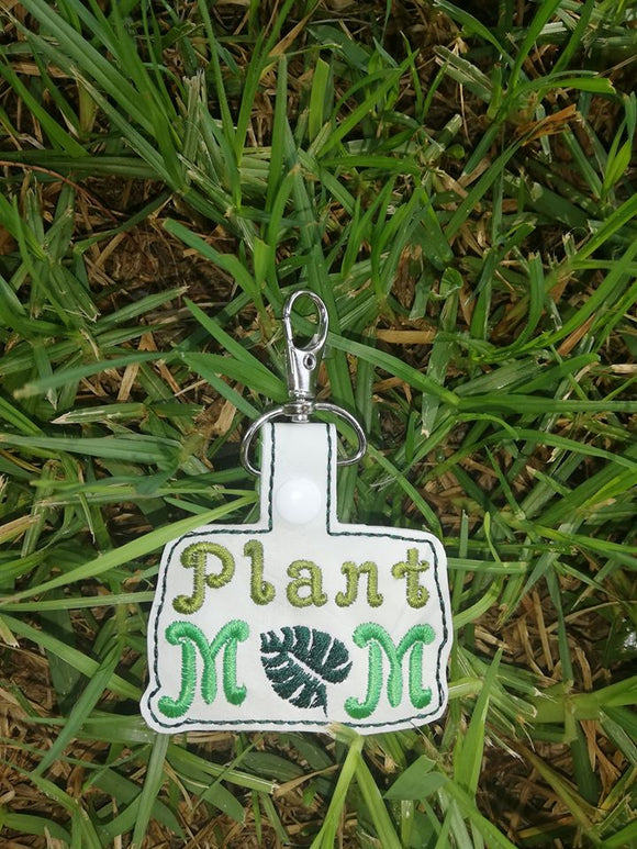 ITH Digital Embroidery Pattern for Plant Mom Snap Tab / Key Chain, 4X4 Hoop