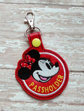ITH Digital Embroidery Pattern for MM Passholder Snap Tab / Key Chain, 4X4 Hoop