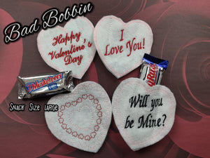 ITH Digital Embroidery Pattern For Snack Size Candy Bar Cover Set of 4 Valentines Lg Size. 4X4 Hoop