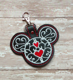 ITH Digital Embroidery Pattern for MM Filigree with Heart Snap Tab / Key Chain, 4X4 Hoop
