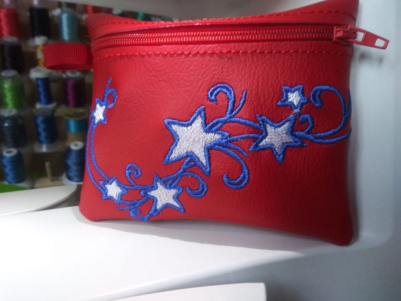 ITH Digital Embroidery Pattern for Stars & Swirl Cash /Card 4.8 X 3.9 Zipper Pouch, 5X7 Hoop