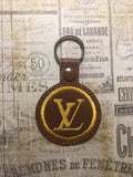 ITH Digital Embroidery Pattern for LV Snap Tab / Key Chain, 4X4 Hoop