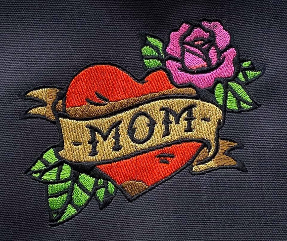 ITH Digital Embroidery Pattern for MOM Heart Banner Design, 4X4 Hoop