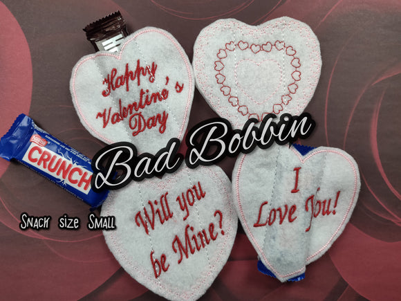 ITH Digital Embroidery Pattern For Snack Size Candy Bar Covers Valentines Set of 4 Small, 4X4 Hoop