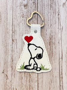 ITH Digital Embroidery Pattern for Snoop Heart Kiss Snap Tab / Key Chain, 4X4 Hoop