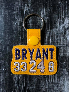 ITH Digital Embroidery Pattern For Bryant #  Snap Tab / Key Chain, 4X4 Hoop