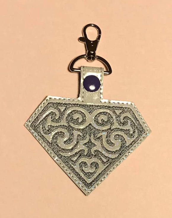 ITH Digital Embroidery Pattern for Diamond Filigree Snap Tab / Key Chain, 4X4 Hoop