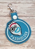ITH Digital Embroidery Pattern For Spork Guy Passholder Snap Tab / Key Chain, 4X4 Hoop